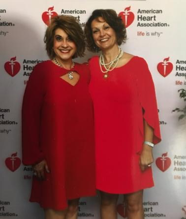 Becky (left) at an annual American Heart Association fundraiser