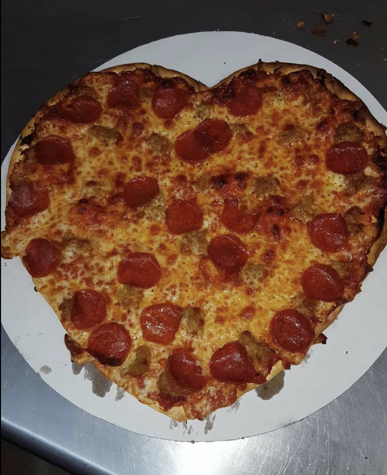 Heart-shaped pizza from Fat Boy's Pizza