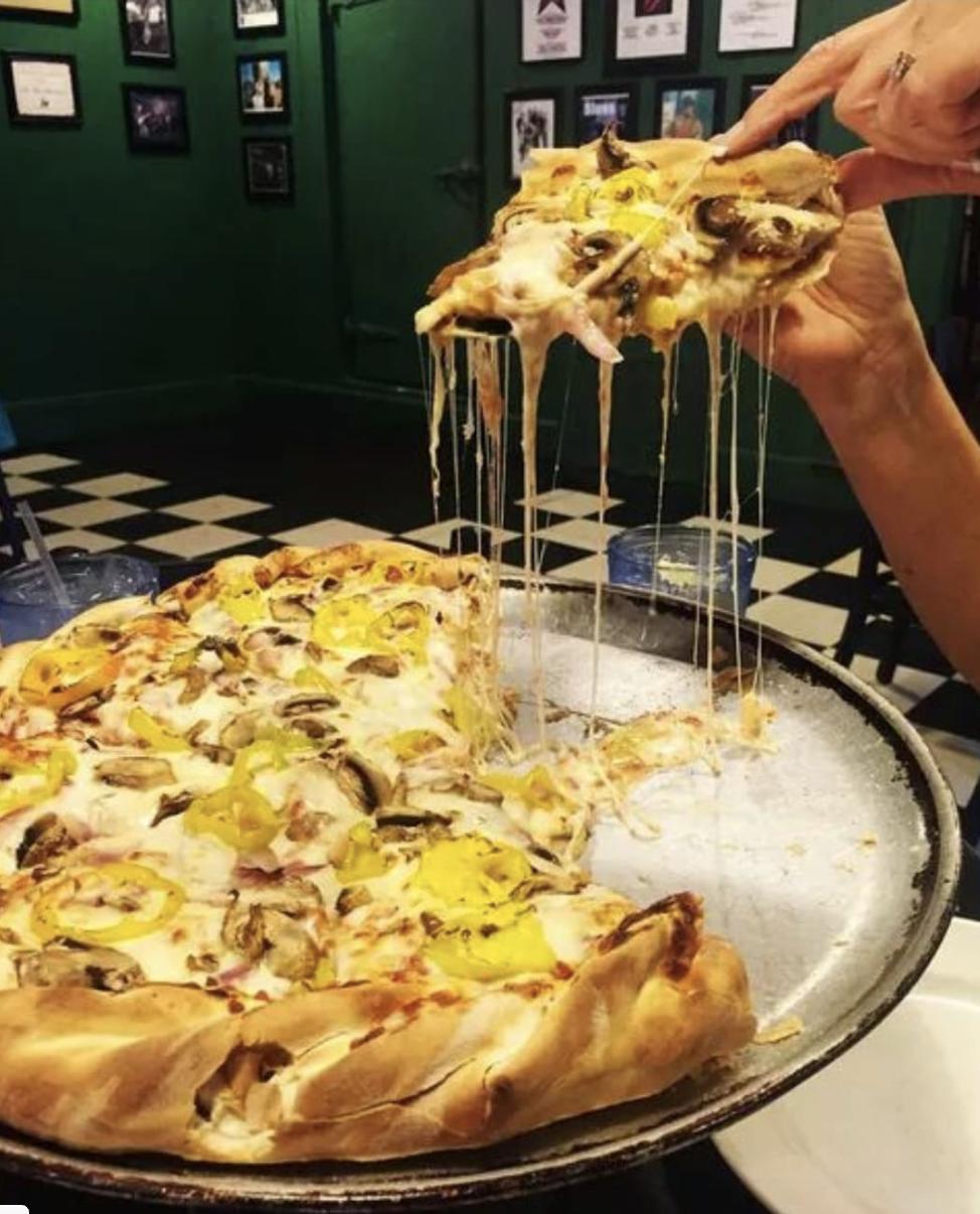 Double decker pizza from Deerhead Sidewalk Cafe