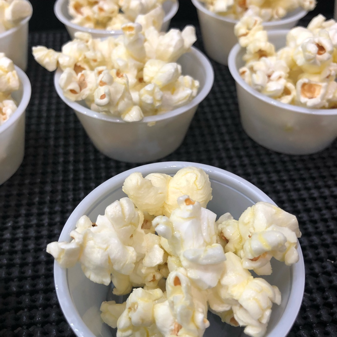 Popcorn drizzled with butter olive oil