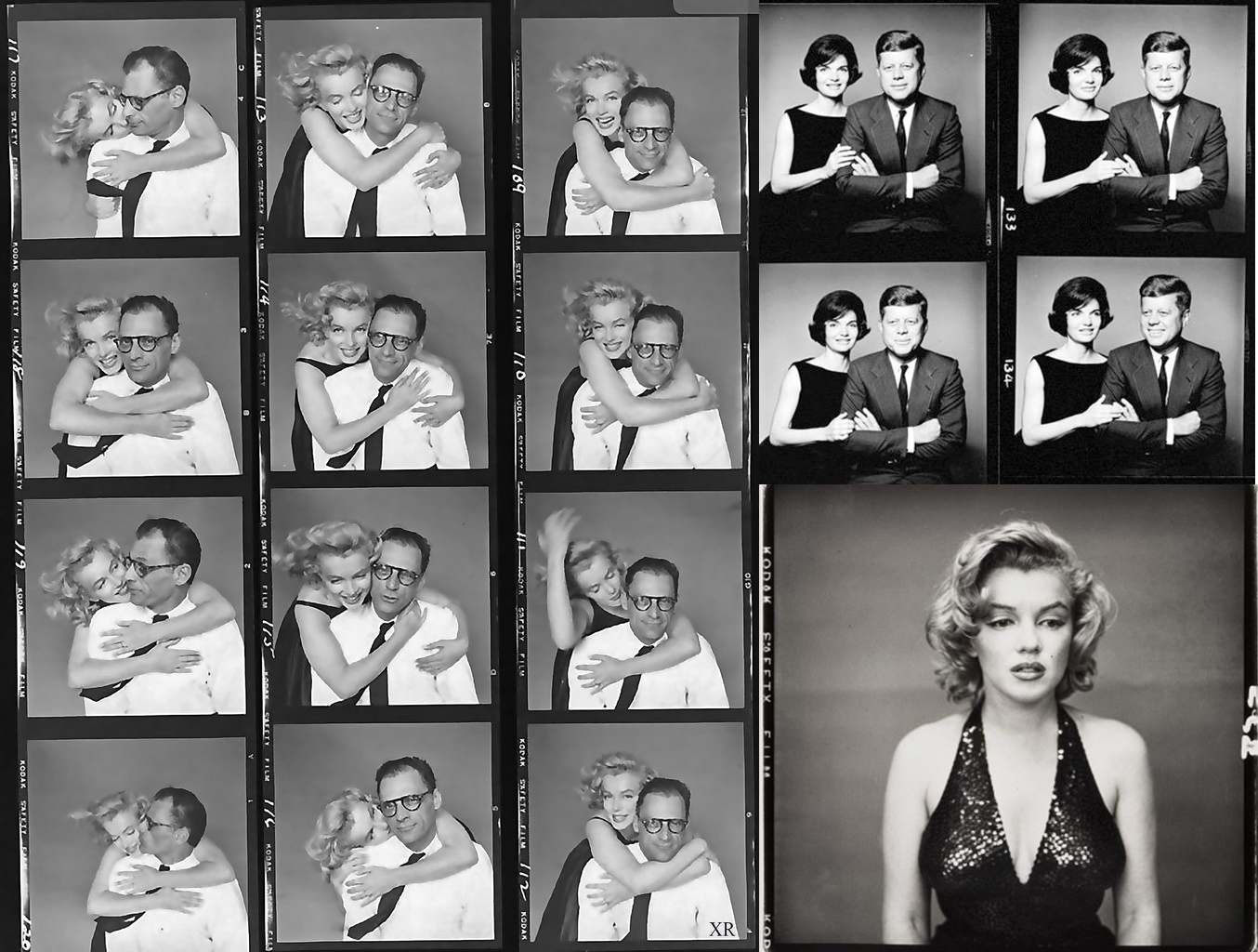 Left: Marilyn Monroe & Richard Avedon, Top Right: John & Jackie Kennedy, Bottom Right: Marilyn Monroe