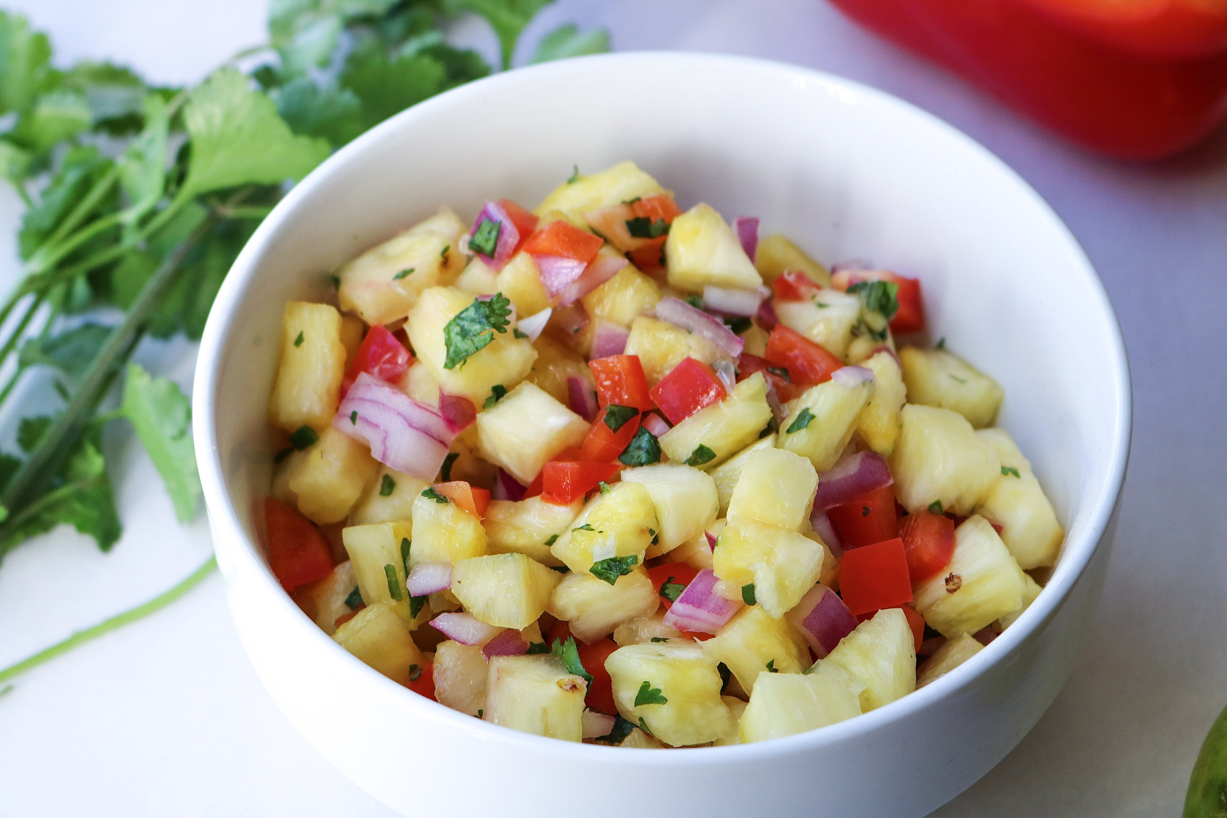 This easy homemade salsa is perfect for tacos, burrito bowls, or on its own as a snack with chips!