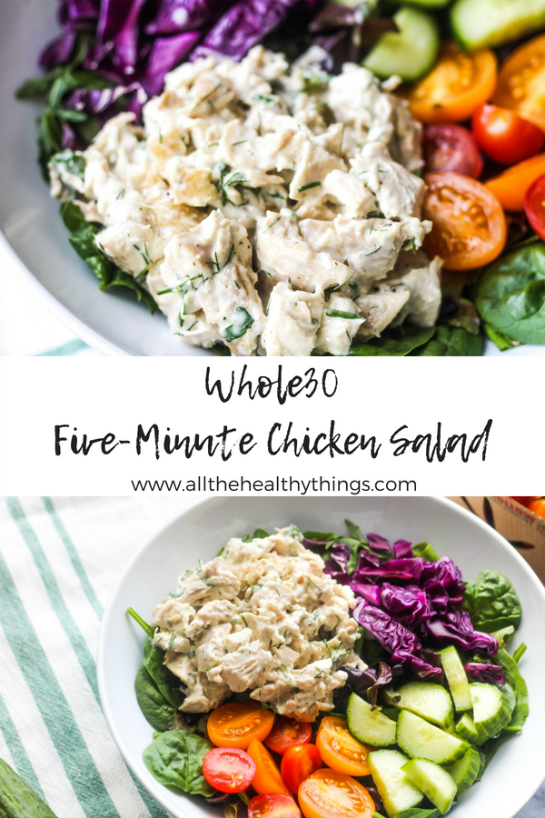 This easy Whole30 Five-Minute Classic Chicken Salad makes for the perfect summer salad! Try pairing it with mixed greens, tomatoes, cucumbers, and balsamic vinegar for a healthy lunch or dinner!