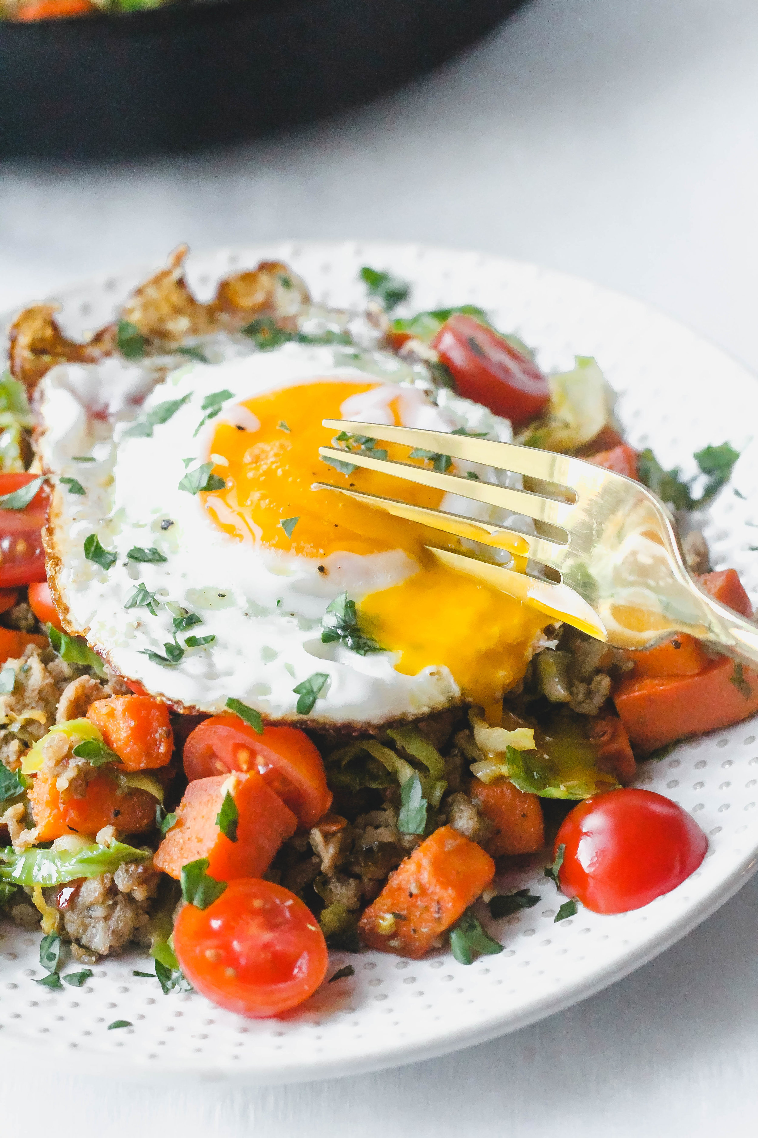 Sweet Potato and Brussel Sprout Breakfast Hash
