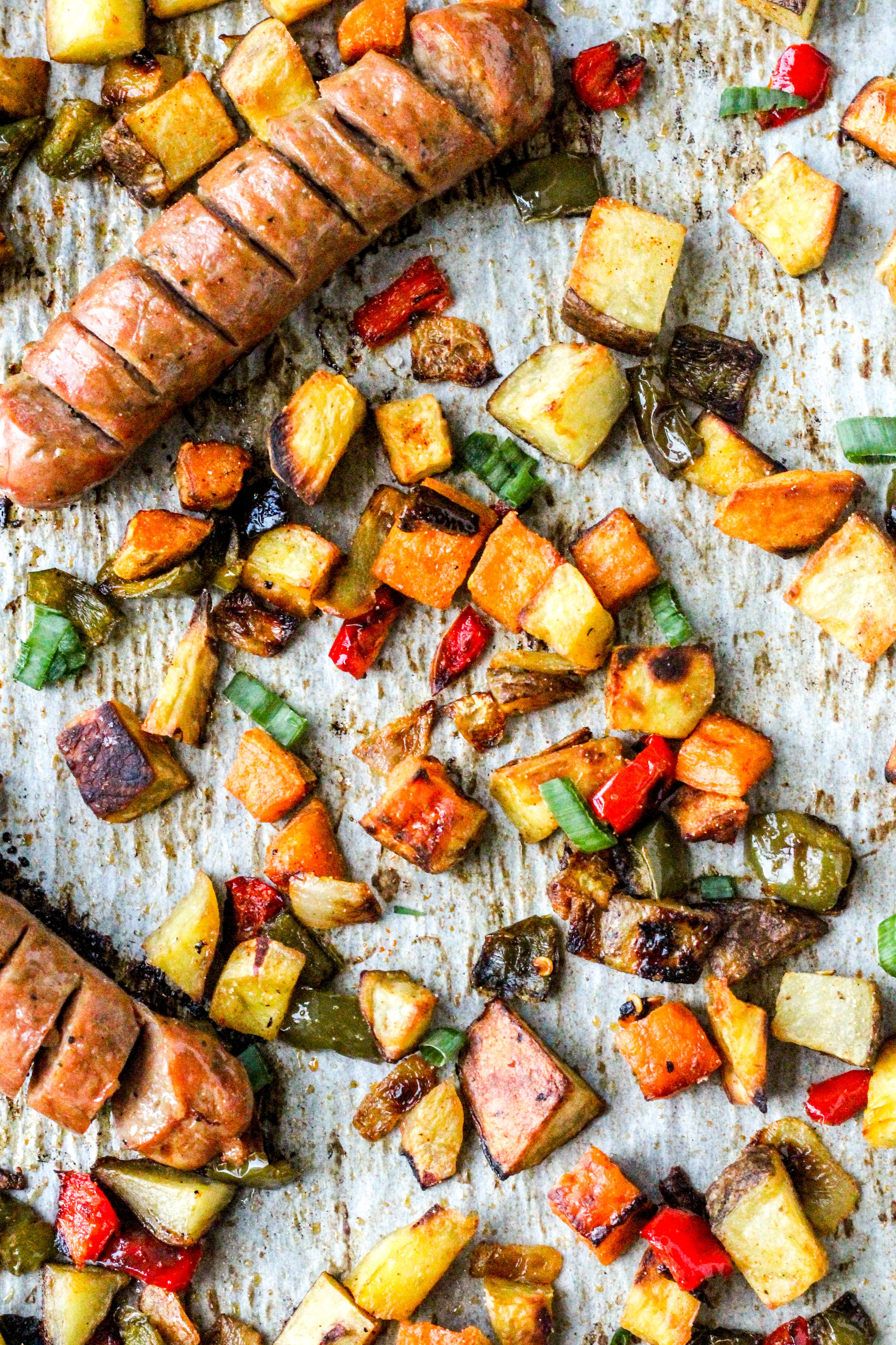 Chicken Sausage & Potato Sheet Pan Breakfast