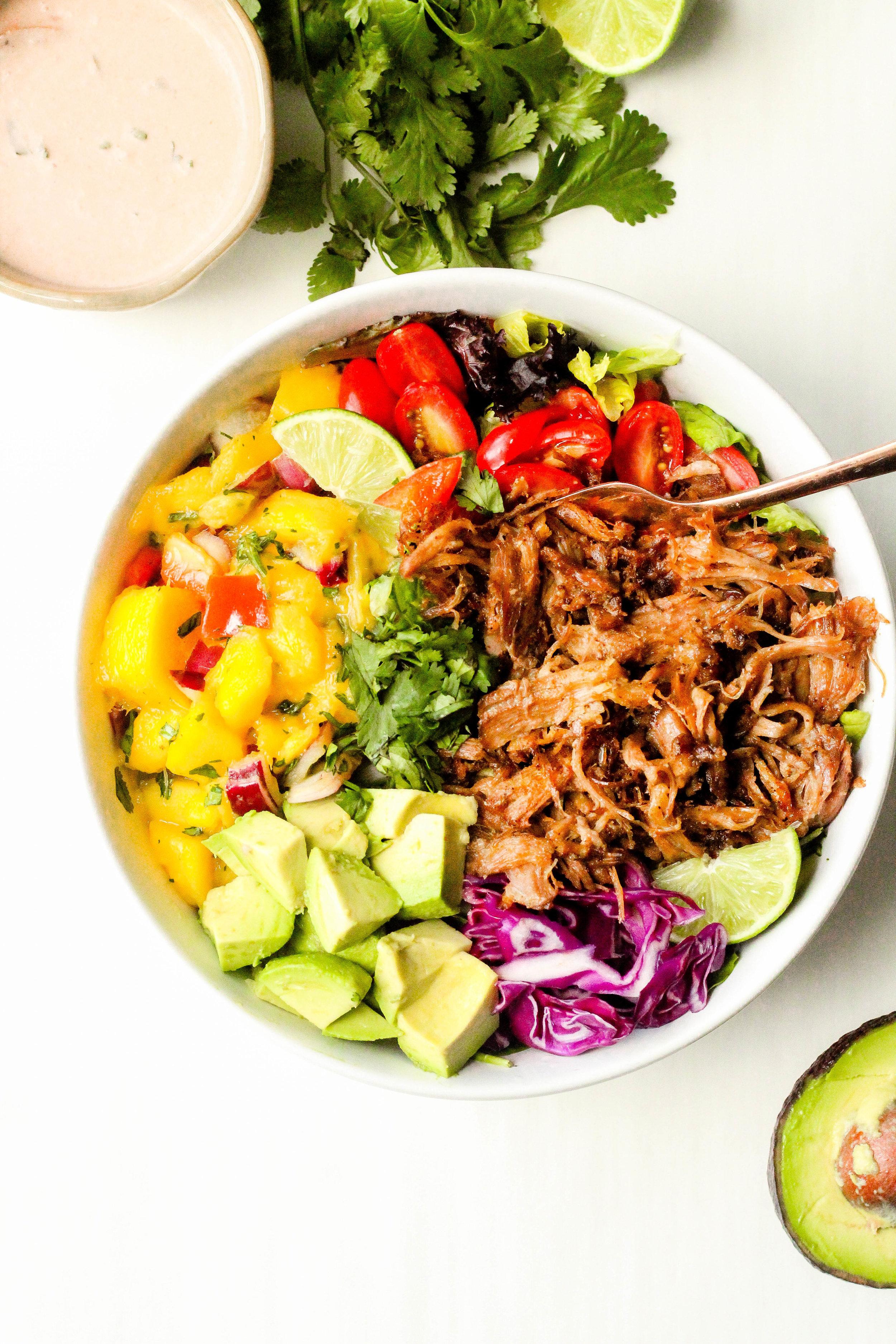 Slow Cooker Carnitas Taco Salad Bowls with Creamy Salsa Dressing
