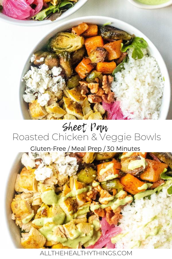 Sheet Pan Roasted Chicken and Veggie Bowls with Lemon Herb Tahini