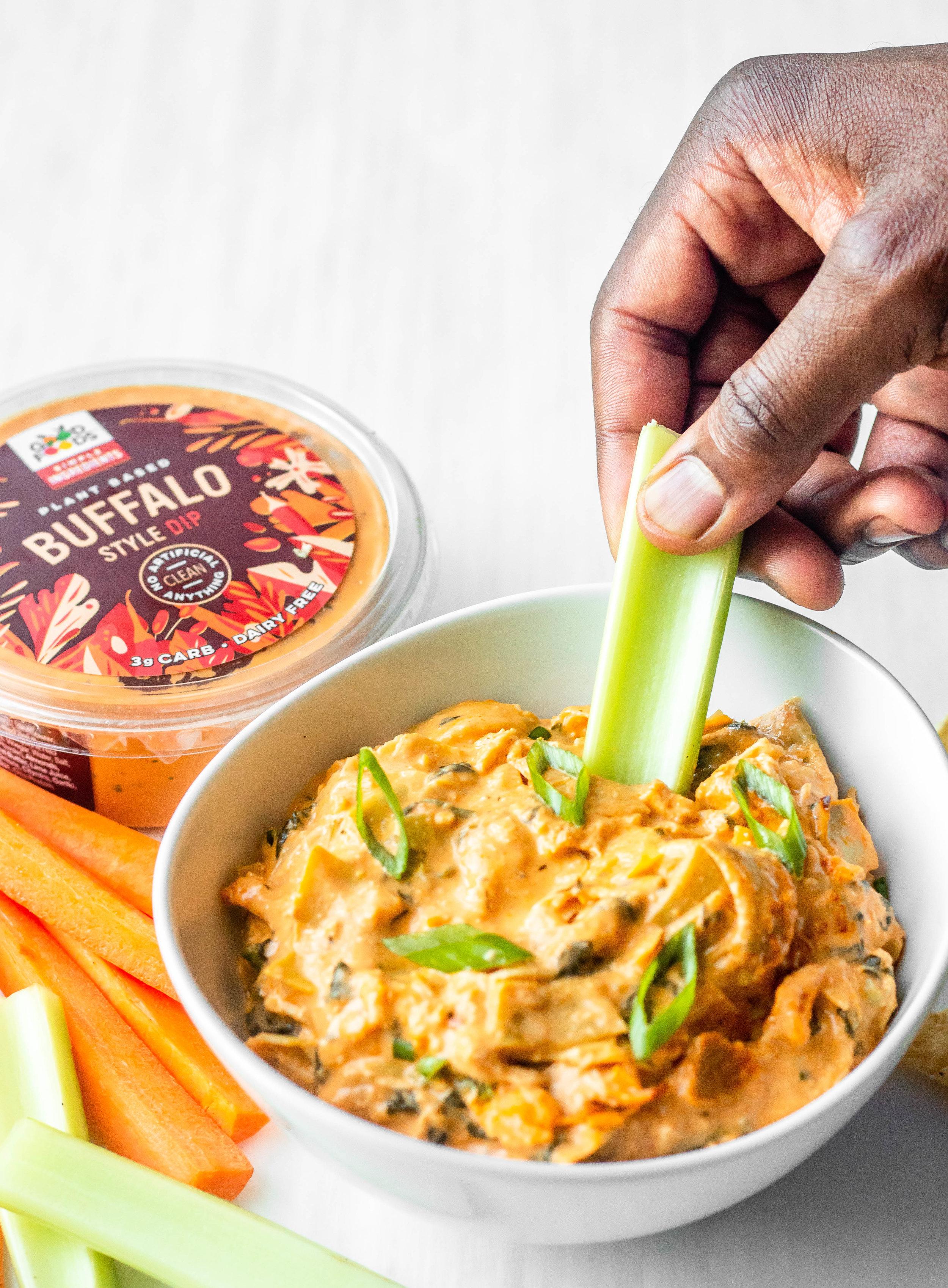 Buffalo Chicken Spinach Artichoke Dip (Dairy Free + Paleo)