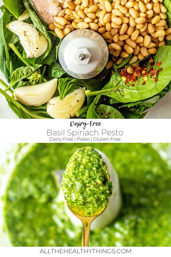 Dairy-Free Basil Spinach Pesto (Vegan, Paleo, Gluten-Free)