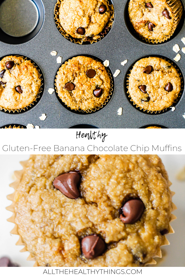 Healthy Gluten Free Banana Chocolate Chip Muffins Pinterest.png