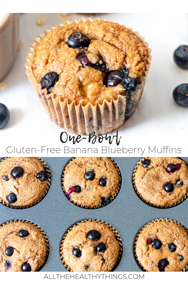One Bowl Gluten Free Blueberry Banana Muffins - Pinterest.png