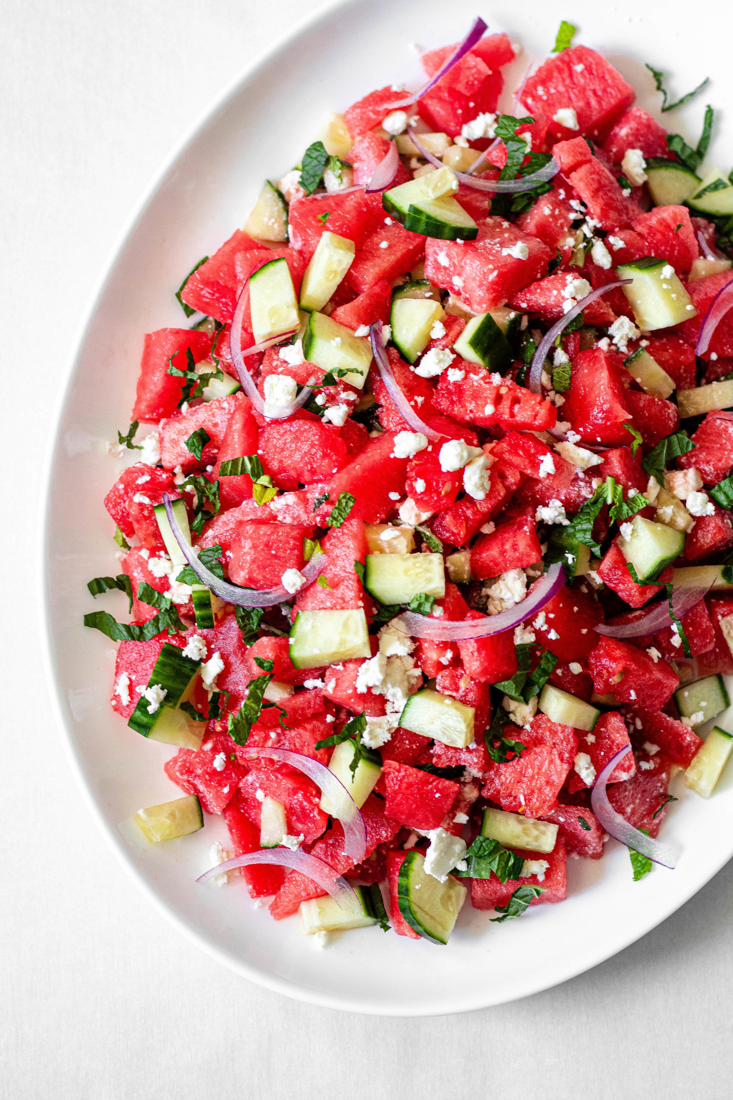 Watermelon, Feta, Cucumber, and Mint Salad