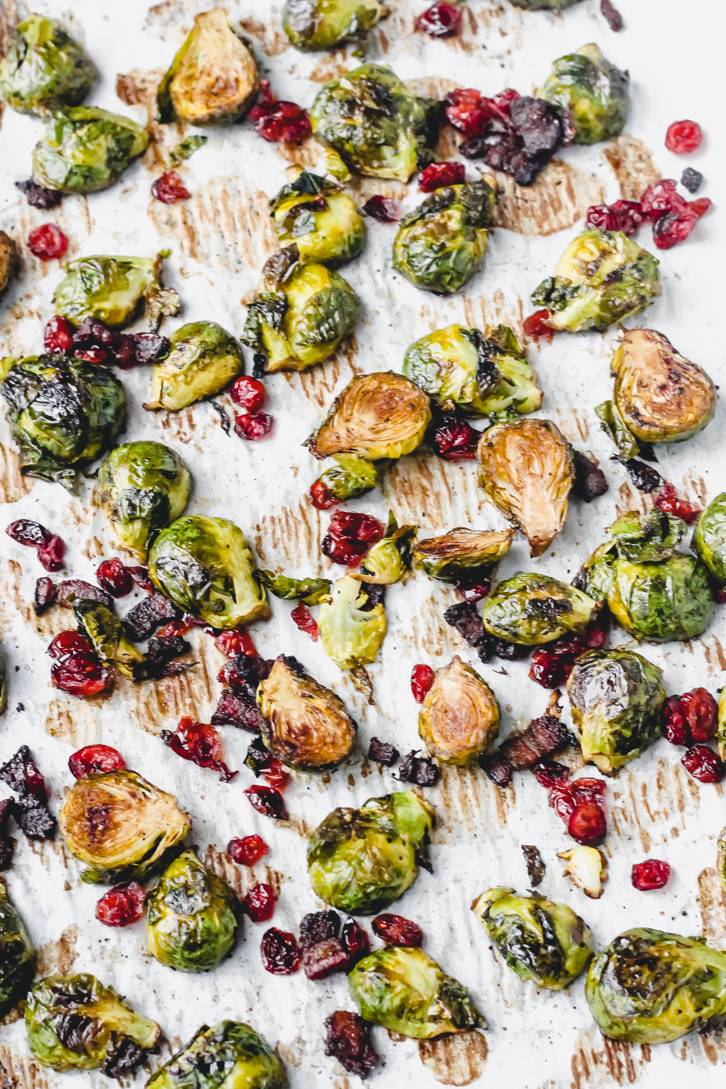 Roasted Brussel Sprouts with Cranberries, Bacon, and Balsamic
