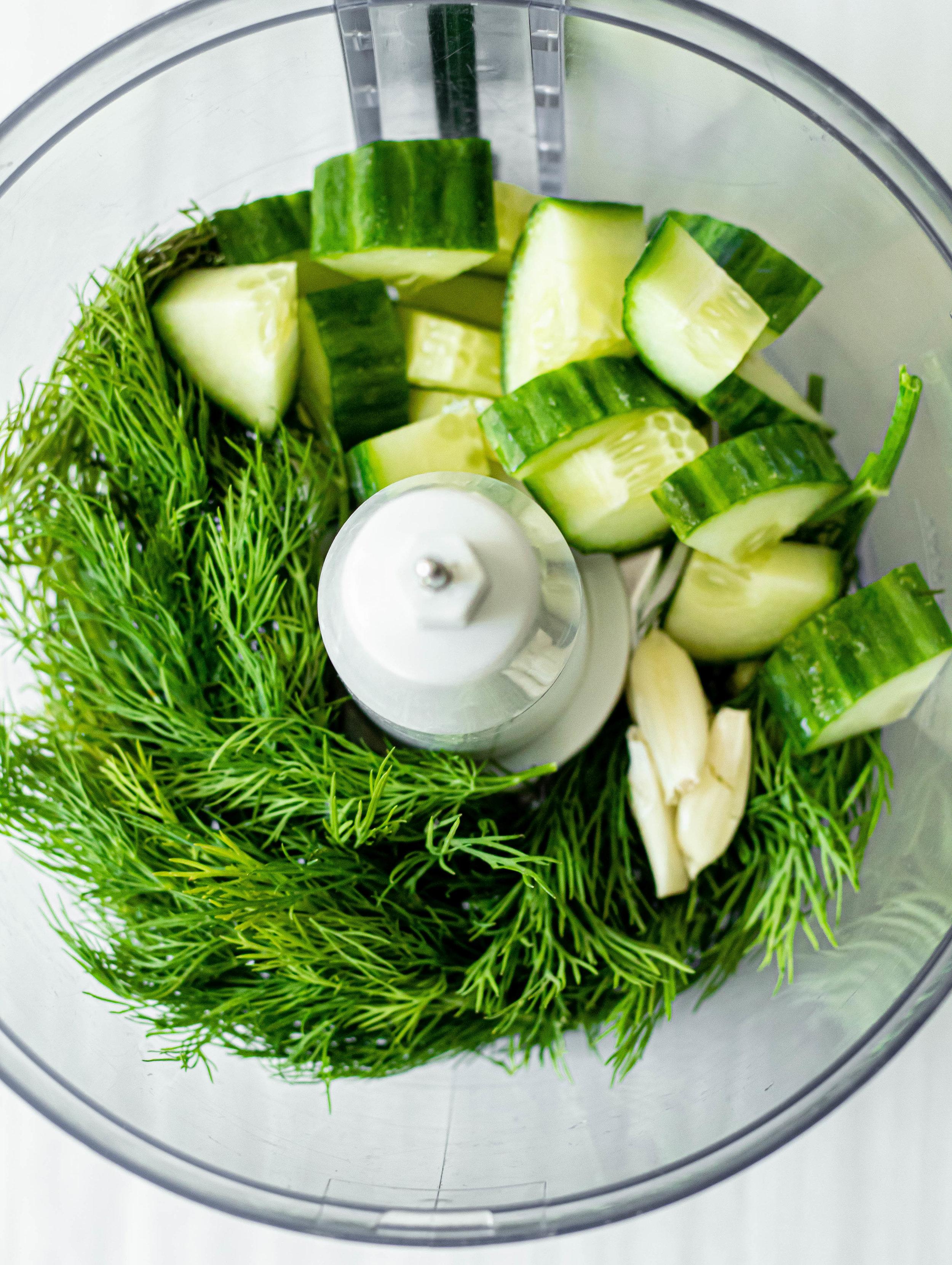 Greek Chicken Burgers with Creamy Tzatziki_cucumbers and dill.jpg