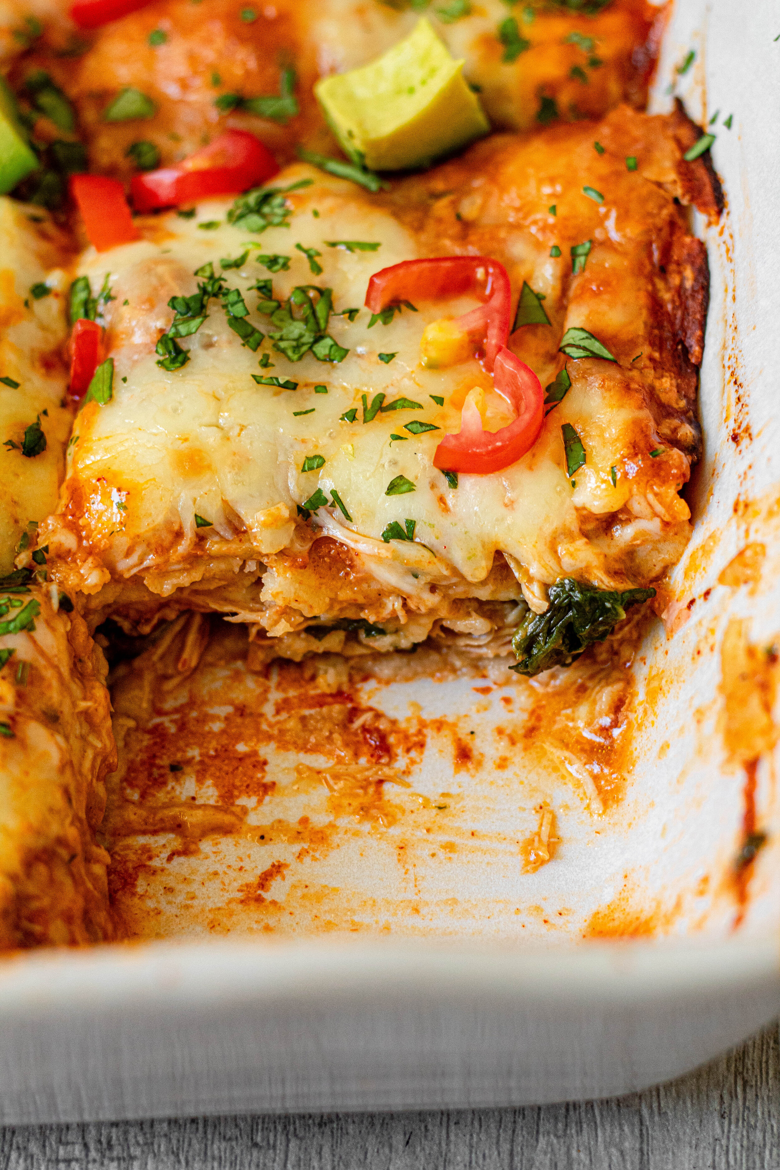 Easy Chicken Enchilada Casserole_slice shot.jpg