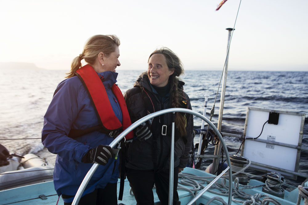 Anna and Celia sharing the helm