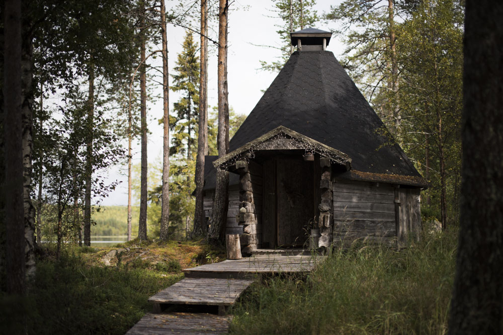 "Traditional Lappish hut ""Kota,"" where we made glow-fired salmon"