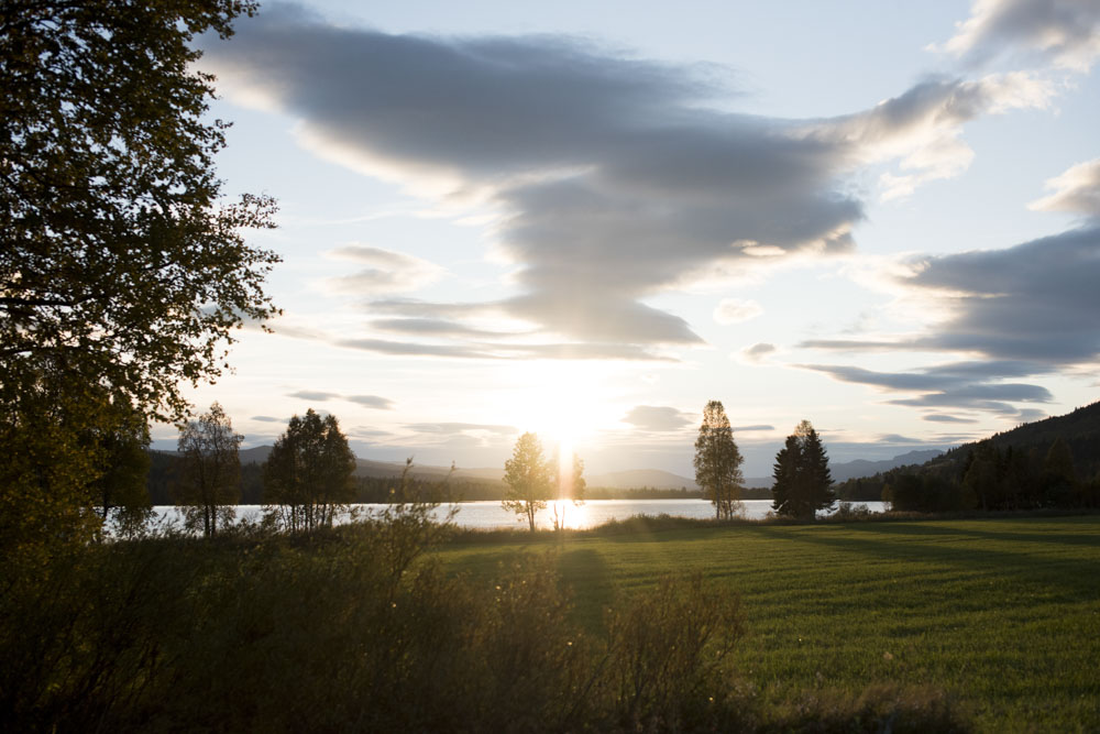 sunset in lierne norway