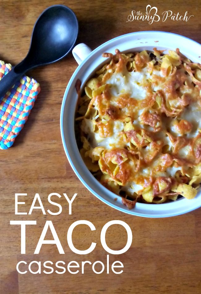 With a few packages of taco meat in the freezer this easy taco casserole can be on the table in less than 30 minutes! It's a quick and easy dinner recipe.