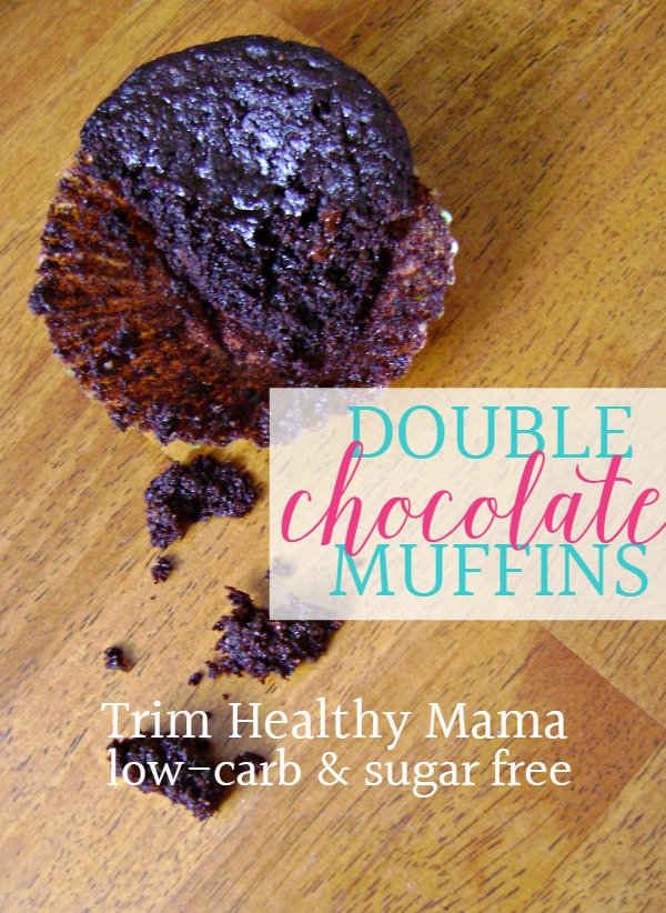 Try these healthy breakfast double chocolate muffins. They are perfect for a Trim Healthy Mama breakfast or any low-carb or sugar free diet.  low-carb recipes | sugar free recipes | Trim Healthy Mama recipes