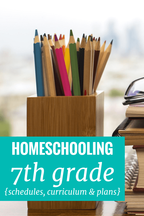 Homeschooling 7th grade - a look at our schedule, curriculum choices, and plans. Get a glimpse of homeschooling in action.