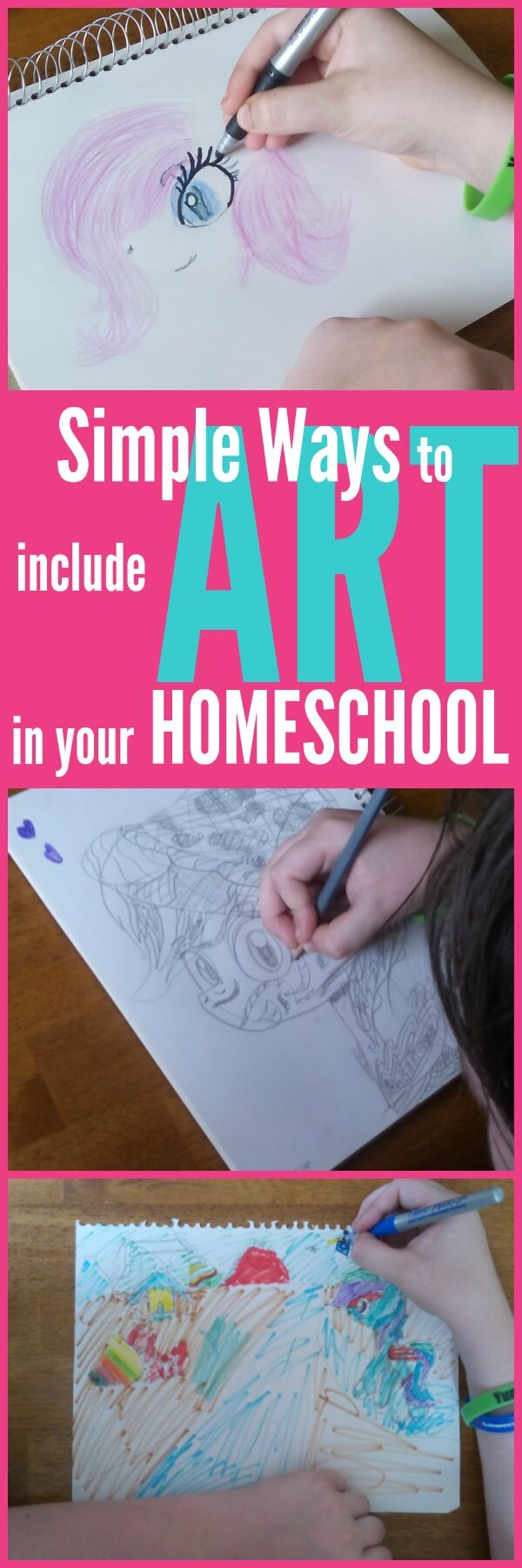 A few simple ways to include art in your homeschool. These tips will help you easily add homeschool art lessons to your homeschool schedule.