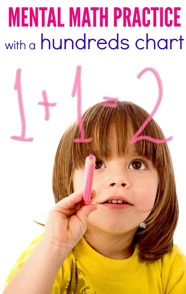 Mental math practice with a hundreds chart - help your kids learn their math facts with this fun game using a hundreds chart. Hands-on learning is the best way to learn math facts!