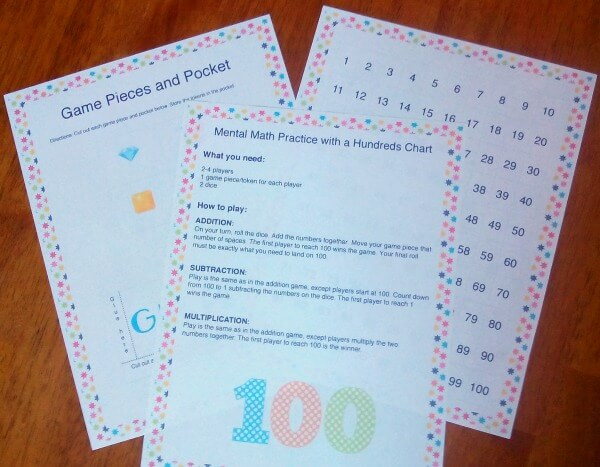 printables for hundreds chart game