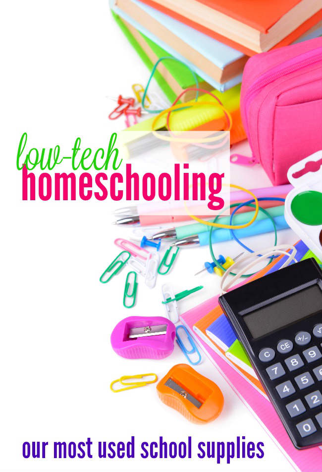 Our most important tools for homeschooling are low-tech gadgets and office supplies. Here's a short list of my favorite simple tools for homeschooling.