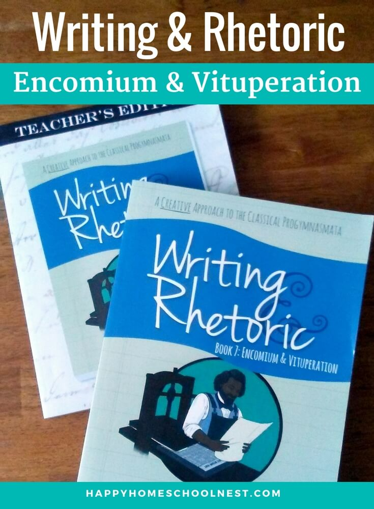 Classical Academic Press produced the Writing & Rhetoric series with the goal of using the ancient system of persuasive writing, the progymnasmata, as a foundation. This method was used during ancient times to teach students how to speak and write persuasively. Classical Academic Press has revived the methodology so homeschool moms don't have to figure it out all on their own. The seventh book in the series, Encomium & Vituperation, focuses on teaching students to write persuasive essays. They'll learn to write an encomium (an essay that praises the virtues of someone) and a vituperation (an essay that focuses on the faults of a historical figure).
