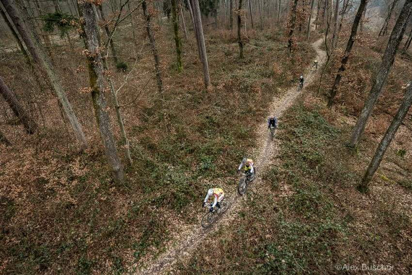 Bird's eye view of us riding on a beautiful trail along the Rhine