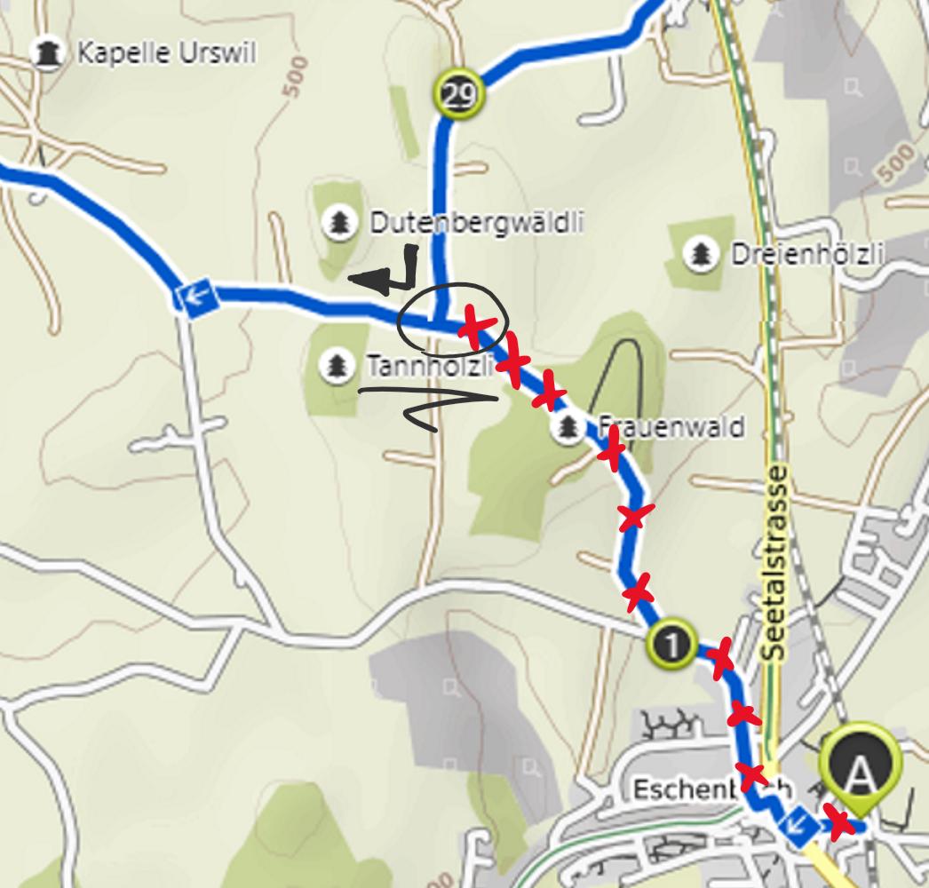 Kurz vor Eschenbach (Tannhölzli) kreuzen sich die beiden Strecken (OST-WEST), da fahren wir direkt und gehen nicht nach Eschenbach rein (ausser jemand will ab da den Zug nehmen oder etwas essen ;-)