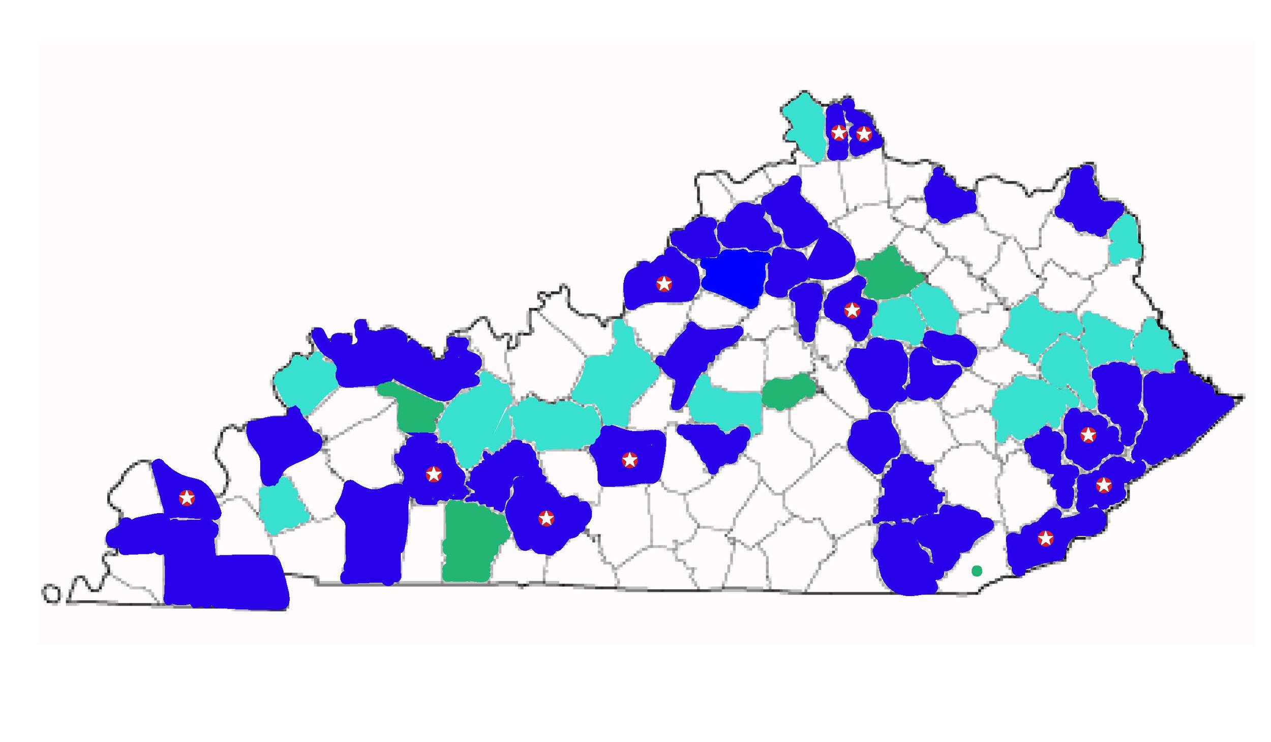 The Kentucky Rural-Urban Exchange has hosted Community Intensives in Bowling Green (2017-18), Covington and Northern Kentucky (2018), Horse Cave (2017-18), Harlan County (2016-17), Knott County (2018-19), Lexington (2016-17), Louisville (2014-15), Muhlenberg County (2019-20), Paducah (2015-16), and Whitesburg (2014-15). The blue counties on the map represent counties where RUX alumni live. The green counties represent counties where alumni grew up, or were living for part of their participation in the program.