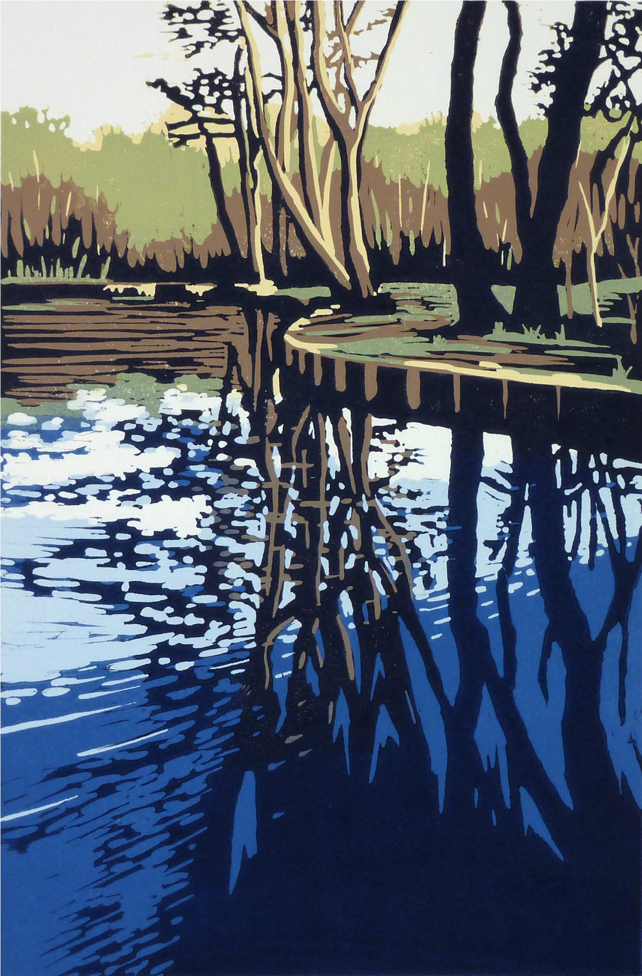 Trow Pool Reflection | 44cm x 34cm |  SOLD OUT  Reduction Linocut