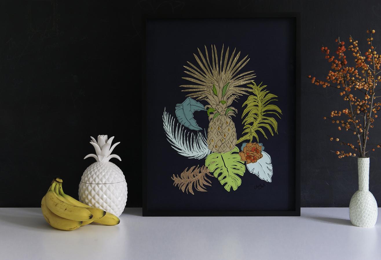 Pineapple | 60cm x 80cm Wallpaper/ Embroidery