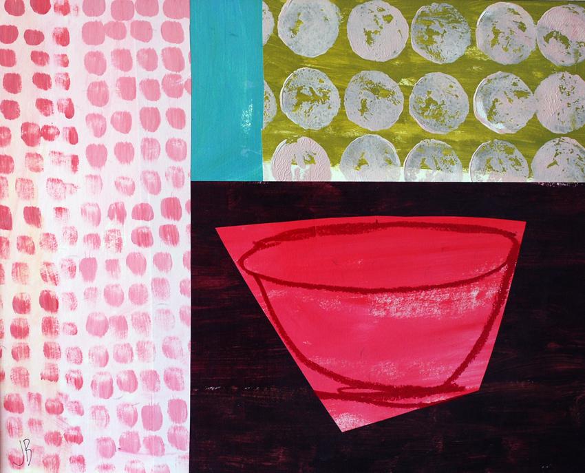 Pink Bowl Pink Dots | 60cm x 50cm
