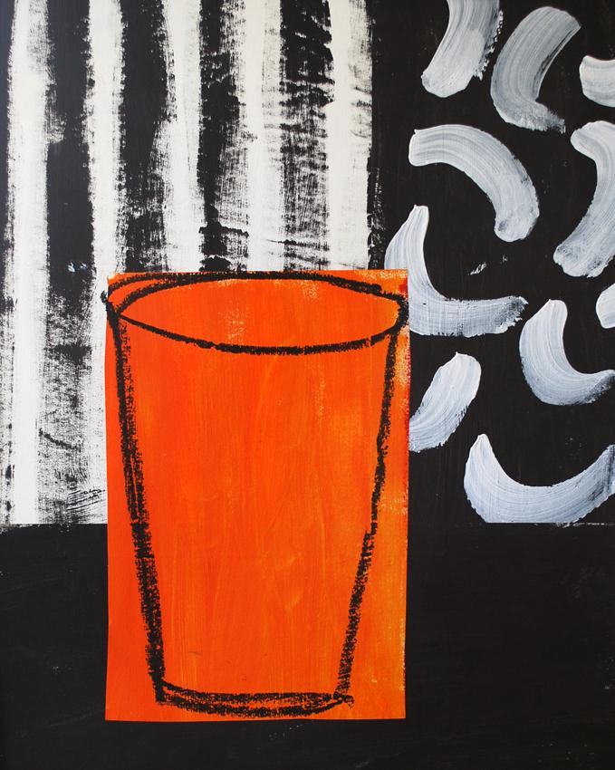 Orange Vessel Black & White | 50cm x 60cm