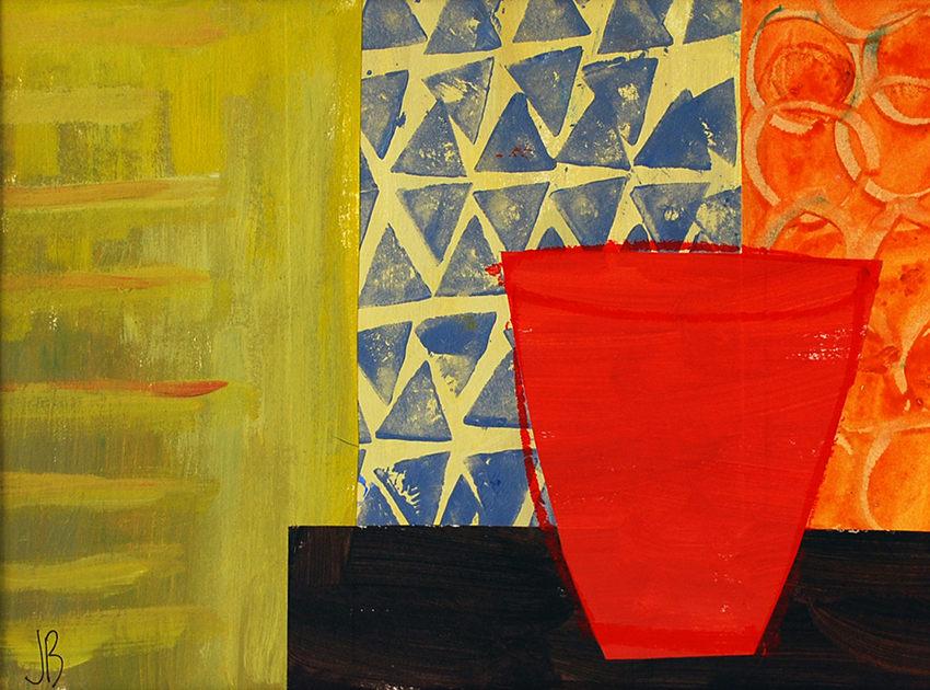 Red Urn, Blues and Greens | 40cm x 50cm