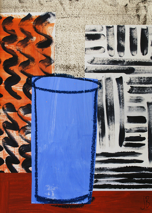 Blue Urn with Black and Tan | 40cm x 50cm