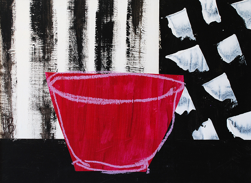 Magenta Bowl with Black and White | 50cm x 40cm