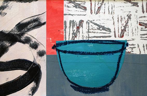 Blue Bowl Red Stripe | 40cm x 30cm