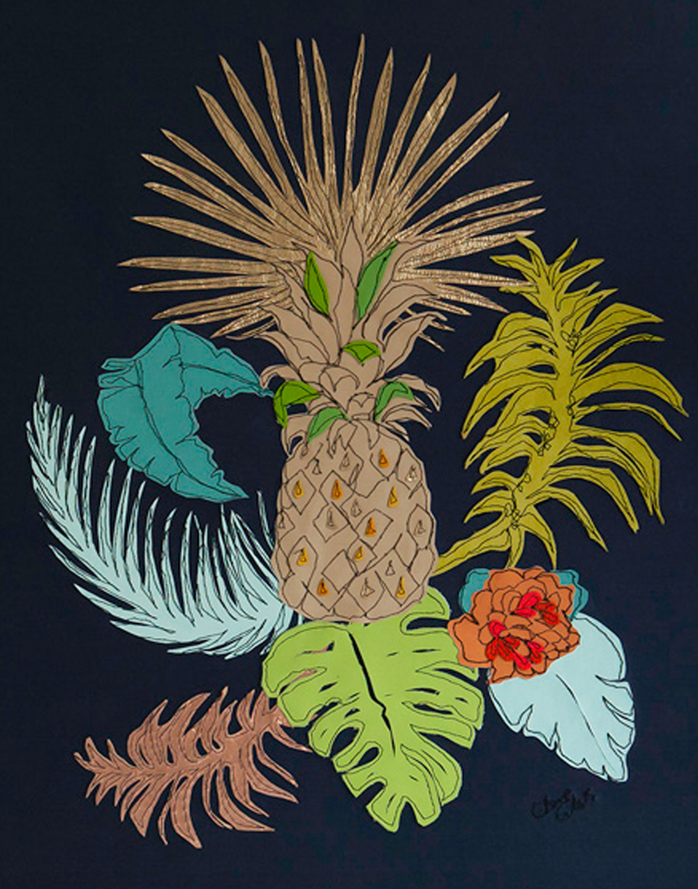 Pineapple Detail | 60cm x 80cm Wallpaper/ Embroidery