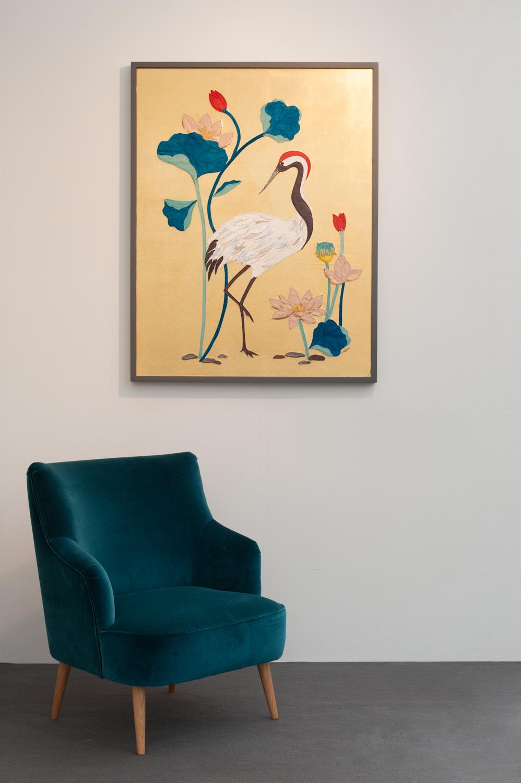 Crane & Lotus Flowers | 90cm x 150cm Wallpaper/ Embroidery on Gold Leaf Panel
