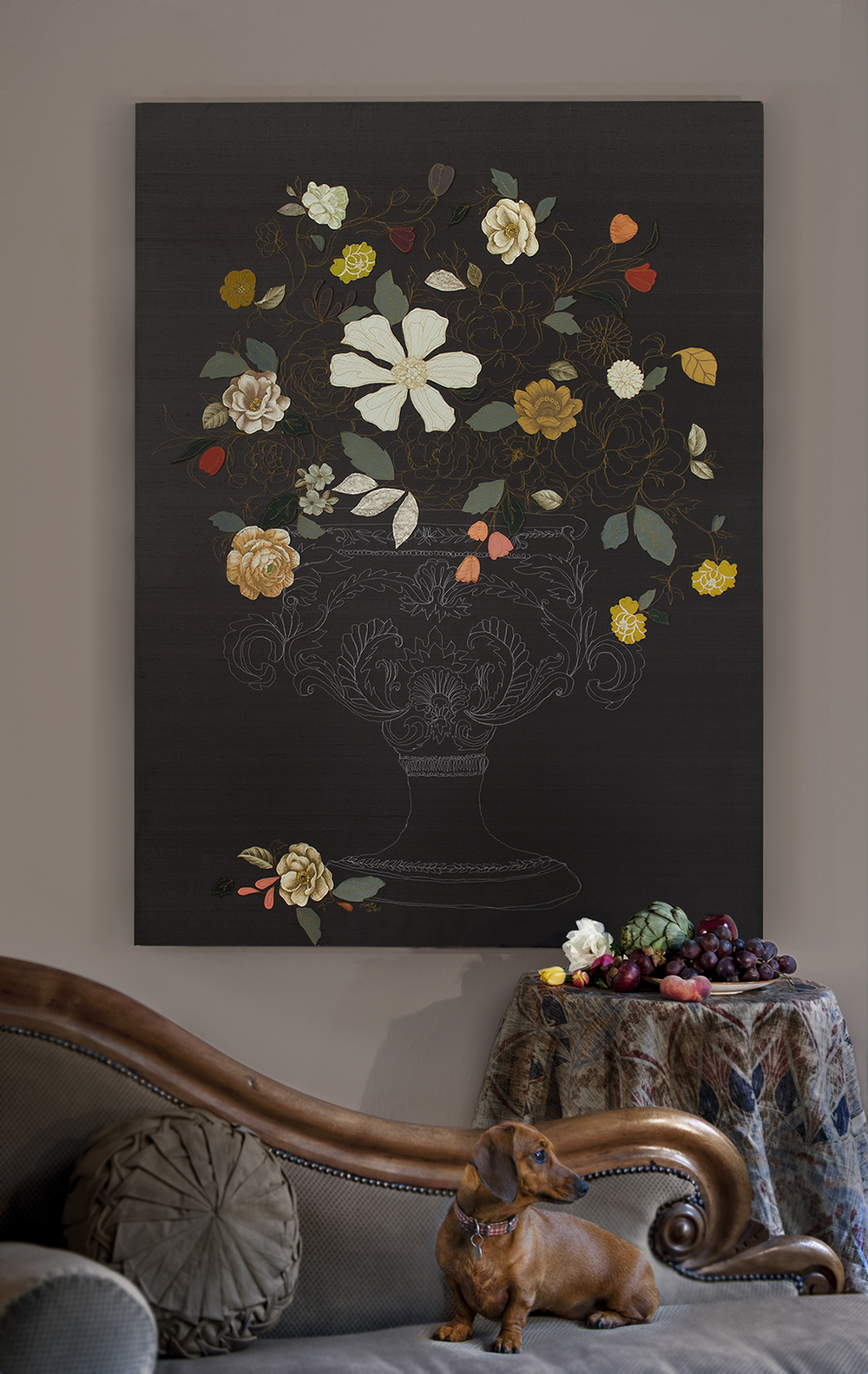 Dutch Master | 120cm x 150cm Vintage Wall Papers, Silks, Leather and Machine Embroidery