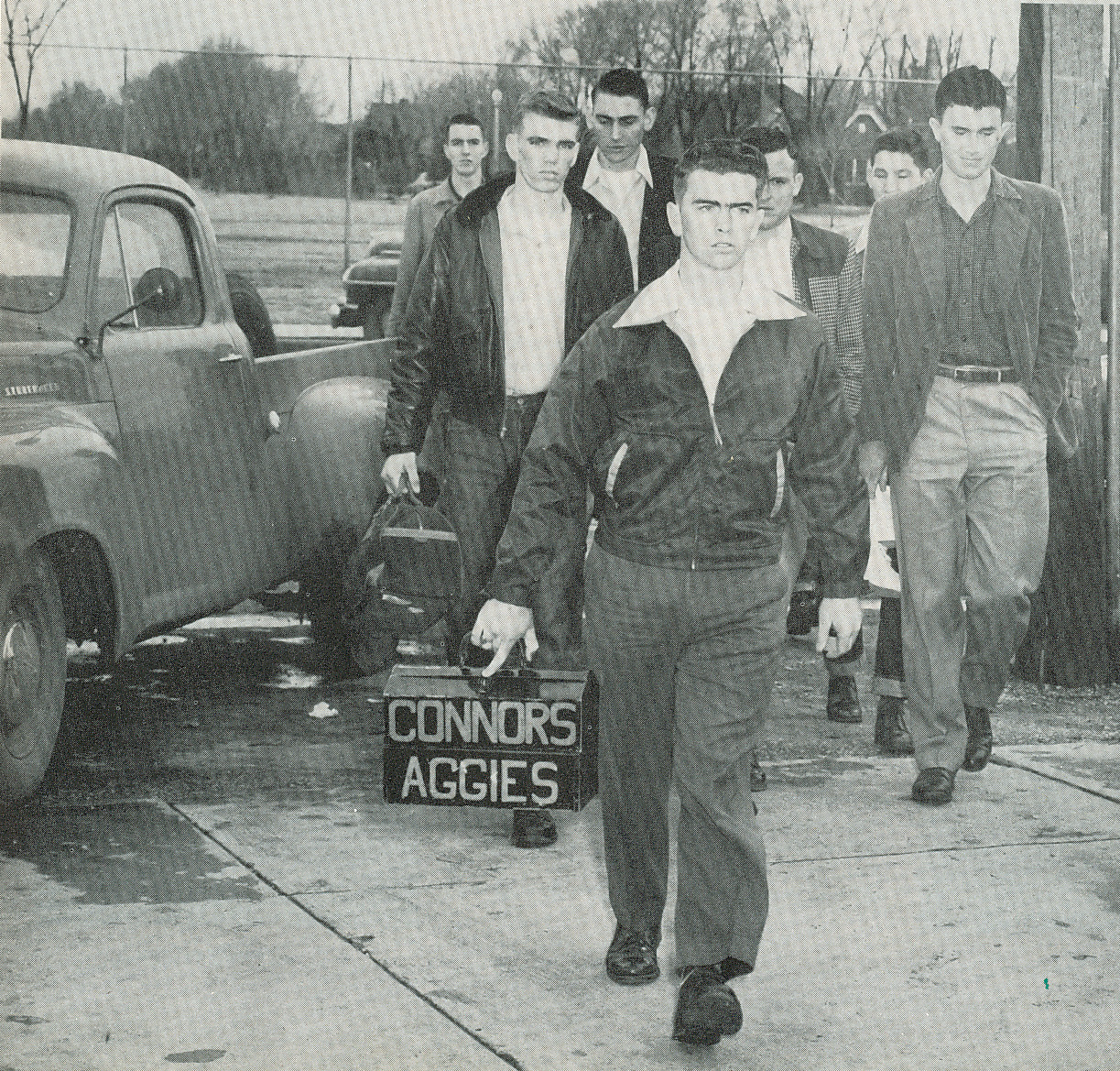 Basketball team on the road 1951