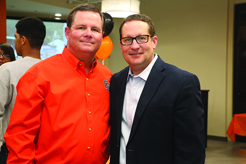 """Kip Karn, 1995 World Series Baseball Team Alumnus,and Coach Perry Keith at the 1st Annual Opening Day Bash raising donations for the """"Turf the Biff"""" Campaign."""