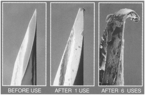 Figure 2 . Hypodermic needle tip after no uses, after one use, and after six uses.