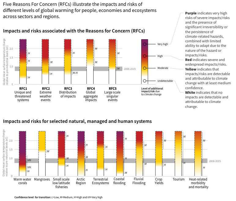 """The """"Reasons for Concern"""" figure from the IPCC report """"Global Warming of 1.5 Degrees C."""" Note that the planet in 2018 is already in the grey shaded area of about 1C warming above pre-industrial levels. Source: www.ipcc.ch/report/sr15/"""