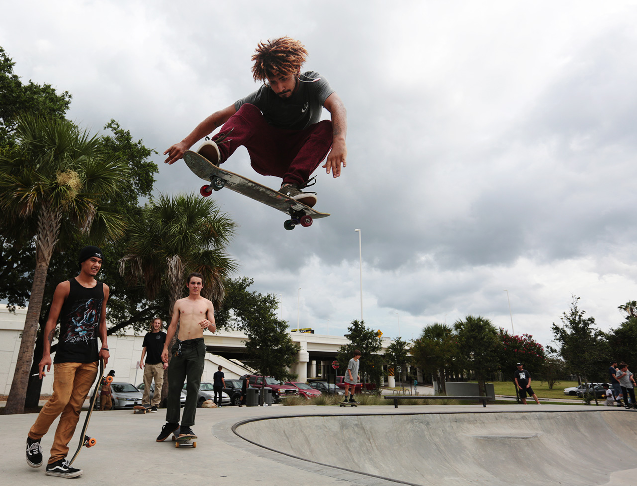 Luis Bermudez, 21, of Tampa, flies over the lip of the bowl before the Go Skateboarding Day at the Bro Bowl located at Perry Harvey Sr. Park on Thursday, June 21, 2018 in Tampa
