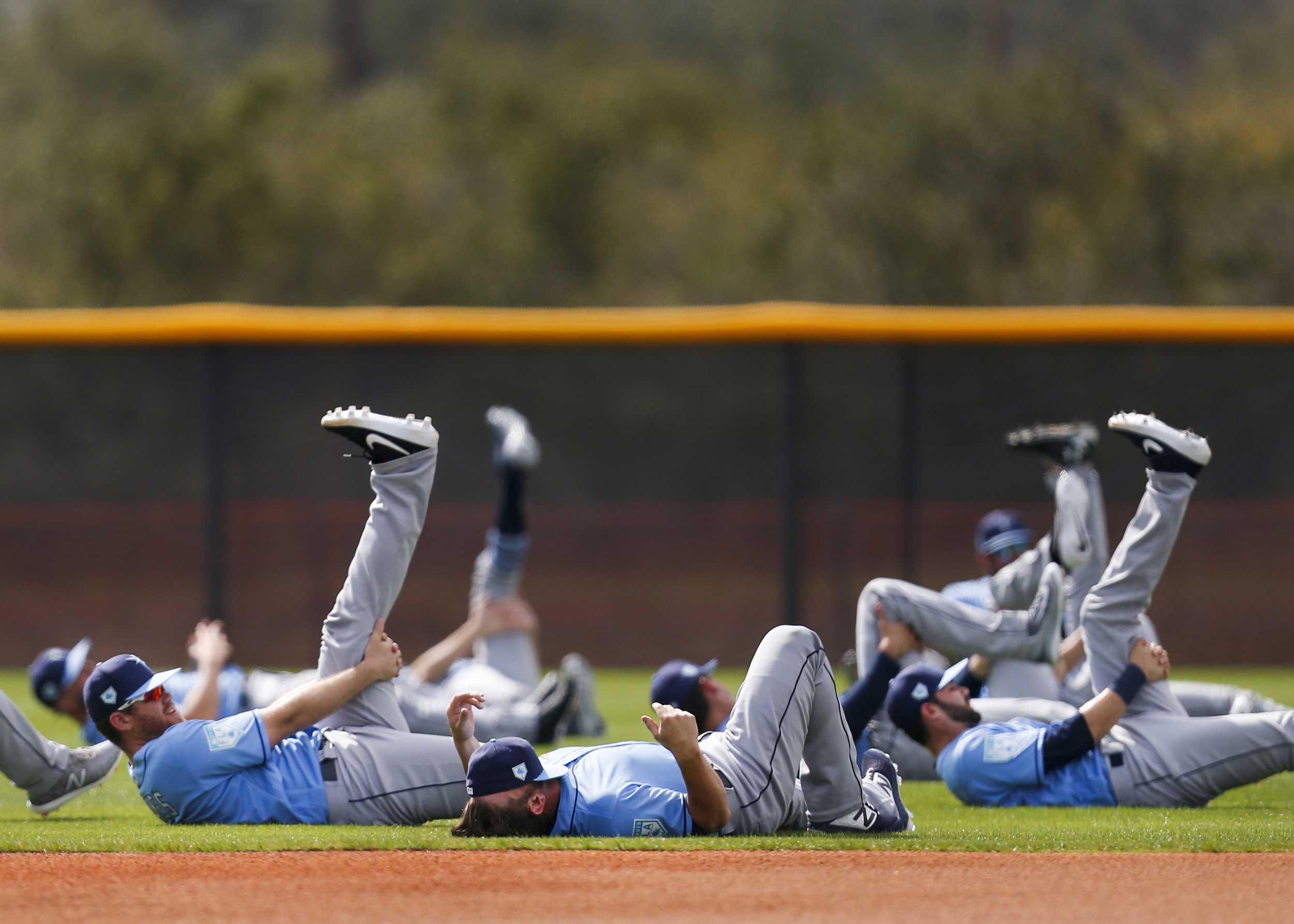 Players hit the field for the Tampa Bay Rays first full-squad spring training workout at Charlotte Sports Park in Port Charlotte, Fla. on Monday, Feb. 18, 2019.